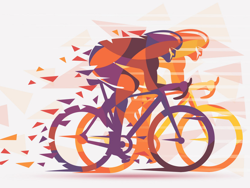 Cycling race stylized background with motion color effects of ti